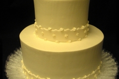 14, cream, yellow, off white, tiered, two tiered, plain, simple, border, lace, ruffles
