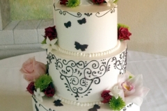 20, black, white, red, flowers, pink, red, roses, green, topper, butterflies, piping, tiered, three tiered